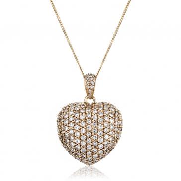 Diamond Pavé Heart Pendant 1.45ct, 18k Rose Gold