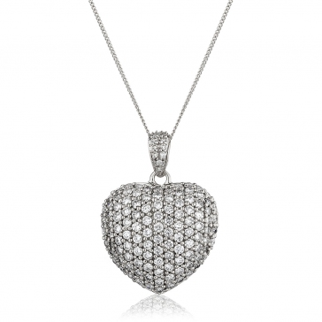 Diamond Pavé Heart Pendant 1.45ct, 18k White Gold
