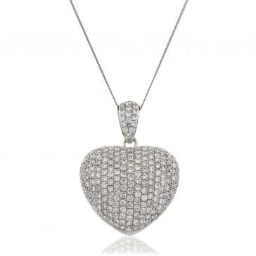 Diamond Pavé Heart Pendant 3.10ct, 18k White Gold