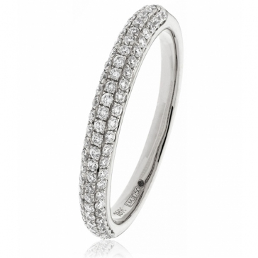 Diamond Pave Set Half Eternity Ring 0.40ct, 18k White Gold
