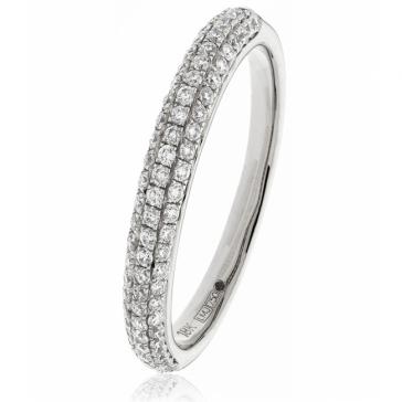 Diamond Pave Set Half Eternity Ring 0.40ct, Platinum