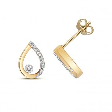 Diamond Pear Stud Earrings 0.09ct. 9k Gold