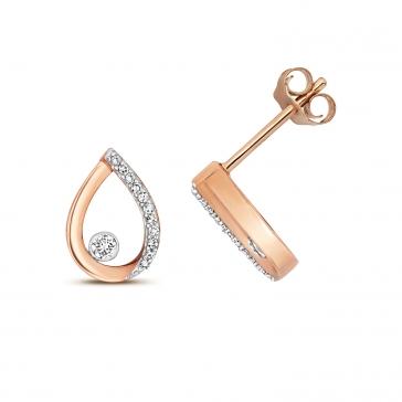 Diamond Pear Stud Earrings 0.09ct. 9k Rose Gold