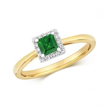 Diamond & Princess Cut Emerald Ring 0.45ct, 9k Gold