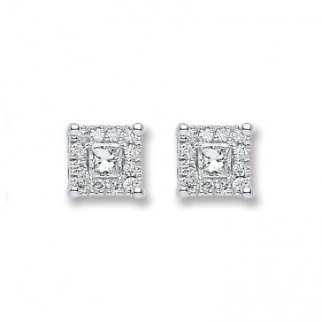 Diamond Princess Stud Earrings 0.25ct, 18k White Gold