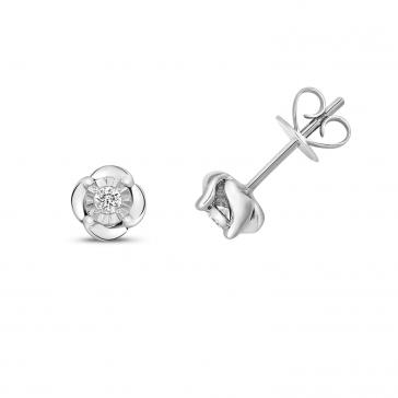 Diamond Rose Stud Earrings 0.10ct, 9k White Gold