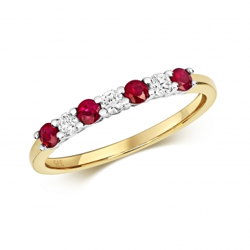 Diamond & Ruby 7 stone ring, 0.47ct, 9k Gold