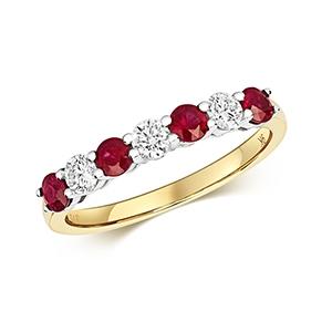 Diamond & Ruby 7 stone ring, 0.81ct, 9k Gold
