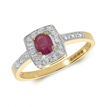 Diamond & Ruby Cushion Ring 0.44ct, 9k Gold
