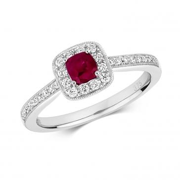 Diamond & Ruby Cushion Ring 0.60ct, 9k White Gold