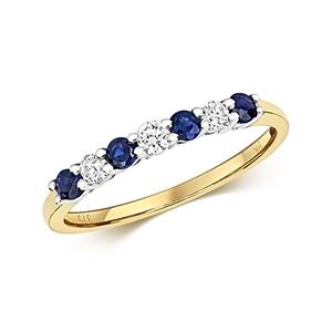 Diamond & Sapphire 7 stone ring, 0.46ct, 9k Gold