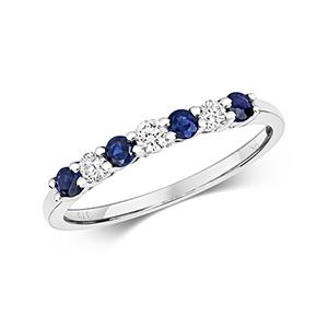 Diamond & Sapphire 7 stone ring, 0.46ct, 9k White Gold