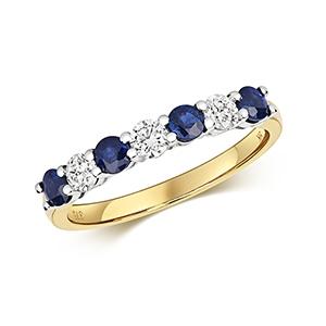 Diamond & Sapphire 7 stone ring, 0.86ct, 18k Gold