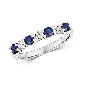 Diamond & Sapphire 7 stone ring, 0.86ct, 9k White Gold