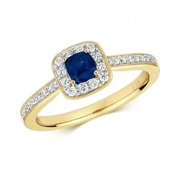 Diamond & Sapphire Cushion Ring 0.66ct, 9k Gold