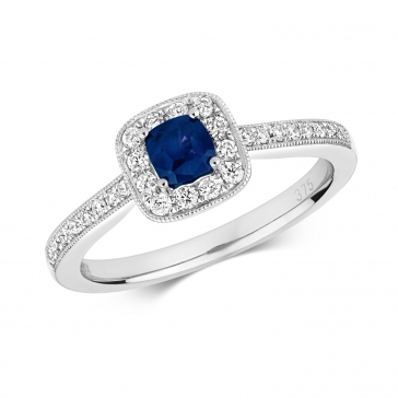 Diamond & Sapphire Cushion Ring 0.66ct, 9k White Gold