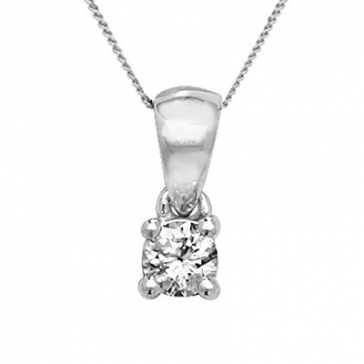 Diamond Solitaire Drop Pendant 0.25ct, 18k White Gold