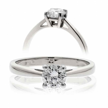 Diamond Solitaire Engagement Ring (4 Claw) 0.40ct, 18k White Gold