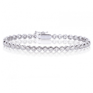 Diamond Tennis Bracelet 4.00ct, 18k White Gold G/SI1