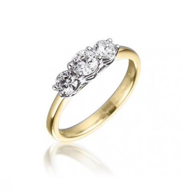 Diamond Three Stone Trilogy Ring 0.50ct, 18k Gold