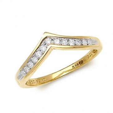 Diamond Wishbone Half Eternity Ring 0.15ct, 9k Gold