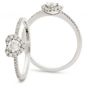 Diamond Heart Engagement Ring 0.35ct, 18k White Gold
