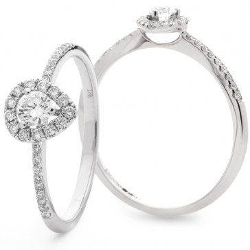 Diamond Pear Shape Engagement Ring 0.35ct, 18k White Gold