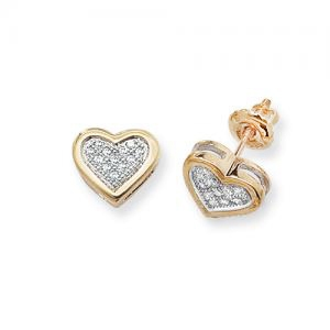 Diamond Heart Stud Earrings 0.12ct, 9k Gold