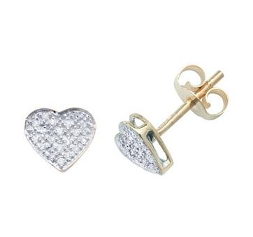 Diamond Heart Earrings 0.10ct, 9k Gold