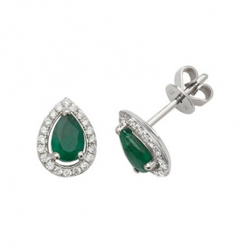 Emerald & Diamond Pear Cut Earrings, 9k White Gold
