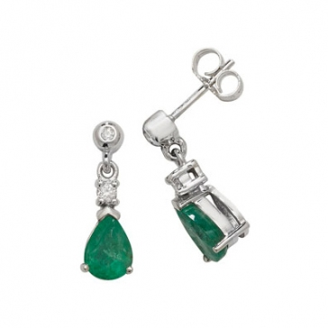 Emerald & Diamond Pear Drop Earrings, 9k White Gold