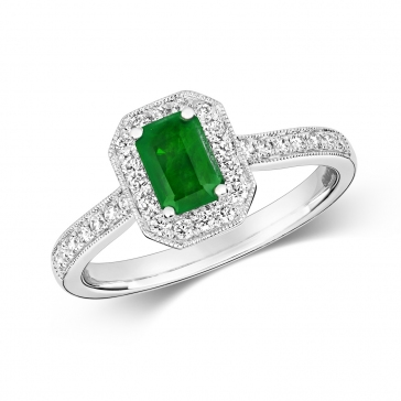 Emerald Ring with Diamond Surround. 0.86ct. 9k White Gold