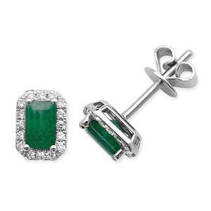 Emerald & Diamond Earrings 0.86ct, 9k White Gold