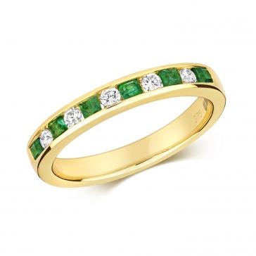 Emerald & Diamond Half Eternity Ring 0.53ct, 9k Gold