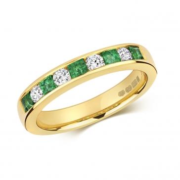 Emerald & Diamond Half Eternity Ring 0.66ct, 9k Gold