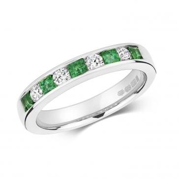 Emerald & Diamond Half Eternity Ring 0.66ct, 9k White Gold