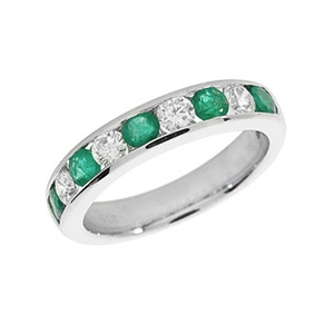 Emerald & Diamond Half Eternity Ring 1.21ct, 9k White Gold
