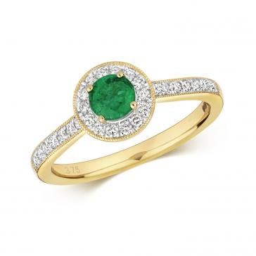 Emerald & Diamond Halo Ring 0.60ct. 9k Gold