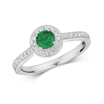 Emerald & Diamond Halo Ring 0.60ct. 9k White Gold