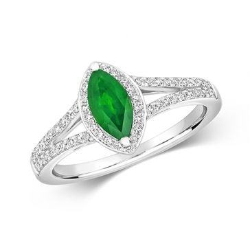 Emerald & Diamond Marquise Ring, 9k White Gold