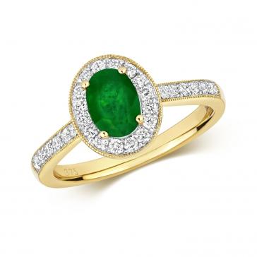 Emerald & Diamond Oval Ring 1.08ct, 9k Gold