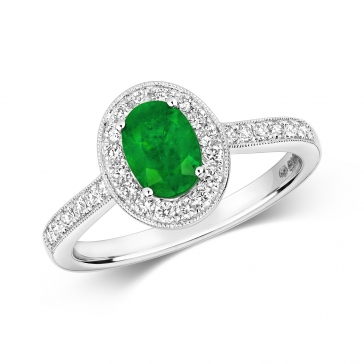Emerald & Diamond Oval Ring 1.08ct, 9k White Gold