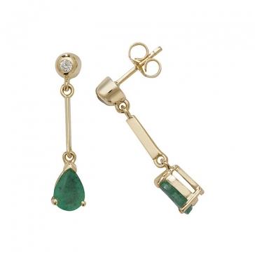 Emerald & Diamond Pear Drop Earrings, 9k Gold