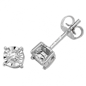 Diamond Illusion Set Stud Earrings 0.20ct, 9k White Gold