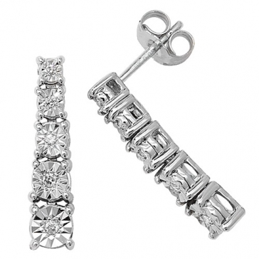 Diamond Illusion Set Drop Earrings 0.10ct, 9k White Gold