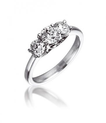 Diamond Three Stone Trilogy Ring 1.00ct in Platinum