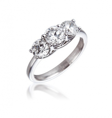 Diamond Three Stone Trilogy Ring 1.50ct, 18k White Gold