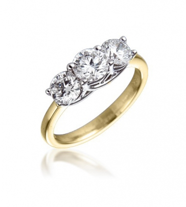 Diamond Three Stone Trilogy Ring 1.50ct, 18k Gold