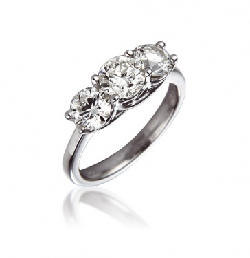 Diamond Three Stone Trilogy Ring 2.00ct, 18k White Gold