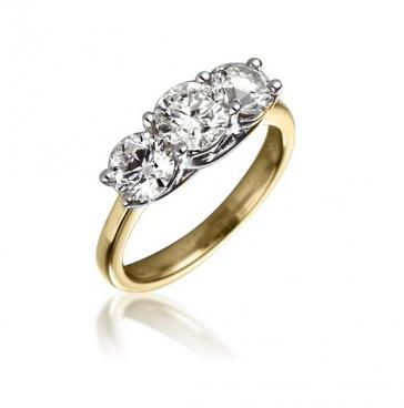 Diamond Three Stone Trilogy Ring 2.00ct, 18k Gold